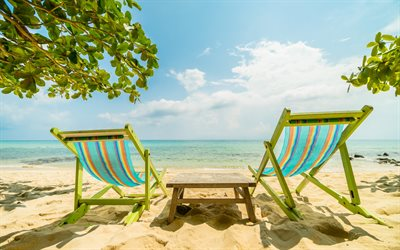 luxury seascape, summer, beach, chaise lounges, sand, summer travel concepts, relaxation, rest