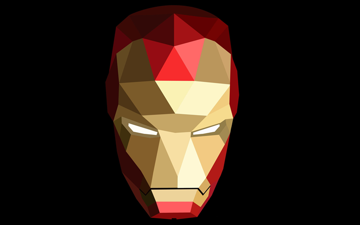 Download Wallpapers 4k Iron Man Minimal Superheroes Geometric