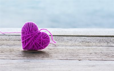 pink heart, heart made of threads, wooden boards, purple heart, romance