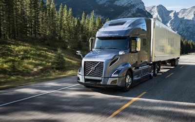 Volvo VNL, 2018, 4k, exterior, front view, new gray VNL, cargo carriage, delivery concepts, Swedish trucks, Volvo Trucks USA