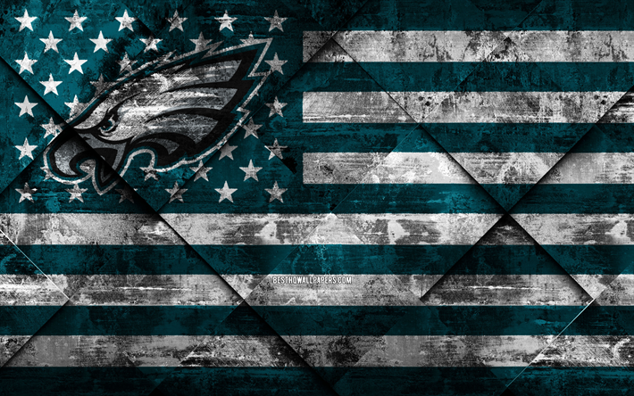 Philadelphia Eagles, 4k, Amerikansk football club, grunge konst, grunge textur, Amerikanska flaggan, NFL, Philadelphia, Pennsylvania, USA, National Football League, USA flagga, Amerikansk fotboll