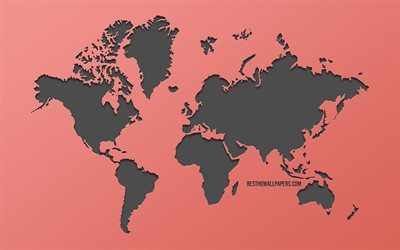 world map, pink background, creative art, world map concepts, Earth, continents