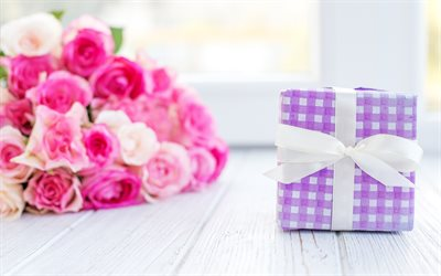 purple gift box, white silk bow, gifts, a bouquet of pink roses, beautiful flowers, roses