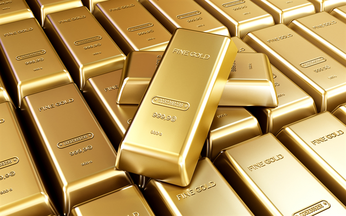 gold bars, gold and currency reserves concepts, 3d gold bars, finance concepts, precious metals, gold