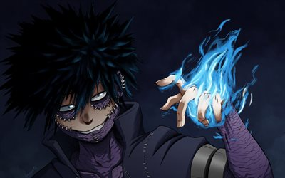 Dabi, darkness, Boku no Hero Academia, manga, My Hero Academia, blue fire flames