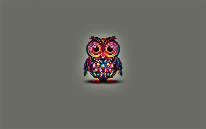 Download Wallpapers Abstract Owl 4k Minimal Cartoon Owl