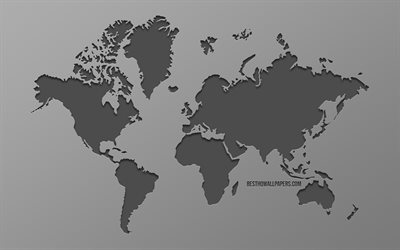 World map, gray background, earth, stylish art, world map concepts