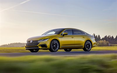 Volkswagen Arteon, 2019, R-Line, side view, new golden Arteon, exterior, german cars, Volkswagen