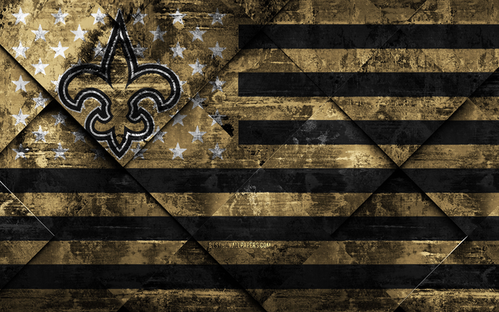 New Orleans Saints, 4k, American football club, grunge art, grunge texture, American flag, NFL, New Orleans, Louisiana, USA, National Football League, USA flag, American football