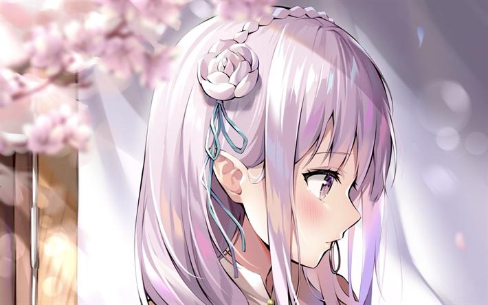Download Wallpapers Emilia Close Up Spring Manga Re Zero