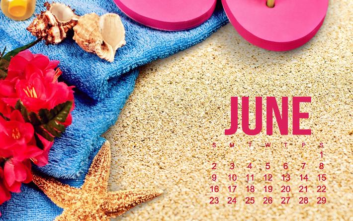 Scarica Sfondi 2019 Giugno Calendario Spiaggia Sabbia Texture