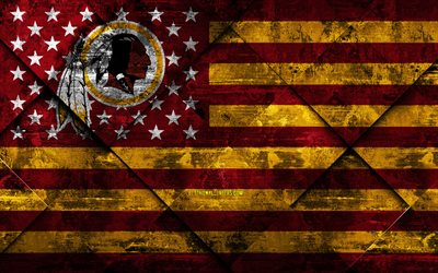 Washington Redskins, 4k, American football club, grunge art, grunge texture, American flag, NFL, Washington, USA, National Football League, USA flag, American football