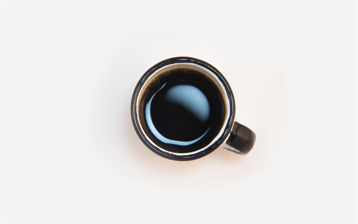 4k, cup with coffee, time for coffee, minimal, good morning, espresso, white backgrounds, coffee cup, coffee