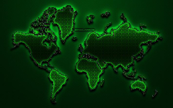 green world map, world map concept, green vintage background, artwork, creative, green glass world map, 3D art, glass world map, world maps