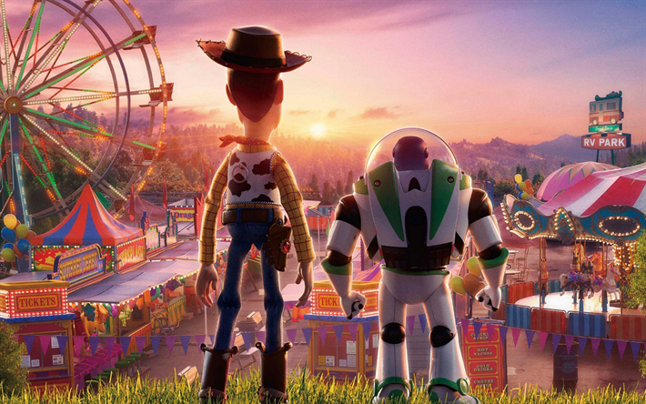 Toy Story 4, 2019, 4k, promotional materials, poster, Sheriff Woody, Buzz Lightyear