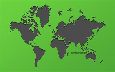 World Map, green background, ecology concepts, creative art, Earth, world map concepts