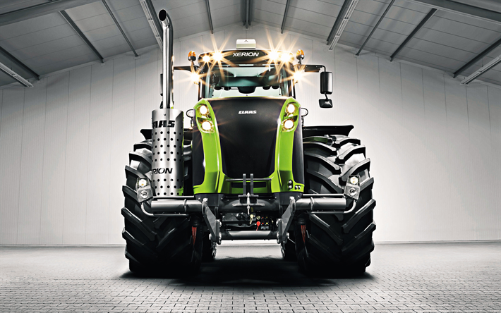 Claas Xerion 5000, 2019, front view, new modern tractors, agricultural machinery, Claas