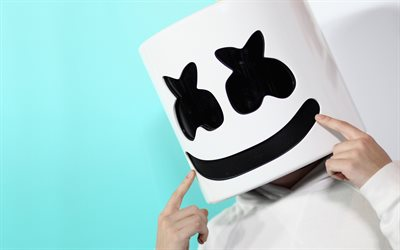 4k, Marshmello, close-up, fã de arte, superstars, Christopher Comstock, Marshmello 4k, DJ Marshmello, DJs