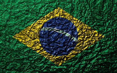Flag of Brazil, 4k, stone texture, waves texture, Brazilian flag, national symbol, Brazil, South America, stone background