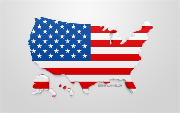 Lataa Kuva 3d Lippu Yhdysvallat Siluetti Kartta Usa 3d Art