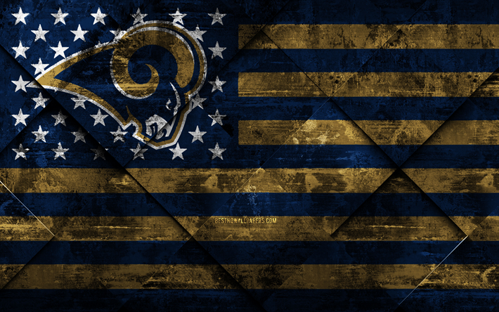 Los Angeles Rams, 4k, American football club, grunge art, grunge texture, American flag, NFL, Los Angeles, California, USA, National Football League, USA flag, American football