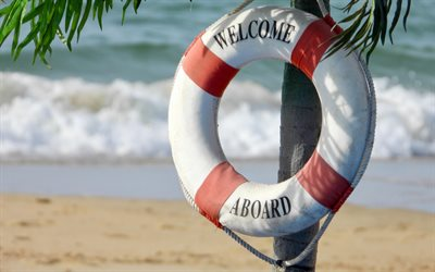 Lifebuoy, welcome to the beach, water wheely, ring buoy, lifering, lifesaver, life donut, summer, beach, palm trees