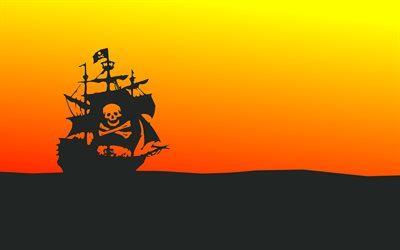pirate ship, 4k, skyline, pirates, minimal, creative, ship silhouette, ship on horizon