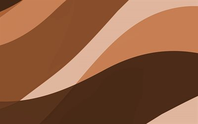 brown abstract waves, 4k, minimal, brown wavy background, material design, abstract waves, brown backgrounds, creative, waves patterns
