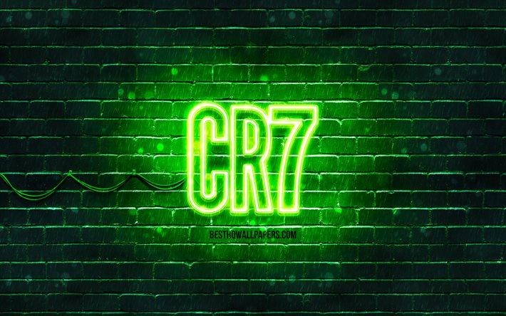 Download Wallpapers Cr7 Green Logo 4k Green Brickwall Cristiano Ronaldo Fan Art Cr7 Logo Football Stars Cr7 Neon Logo Cr7 Cristiano Ronaldo Logo For Desktop Free Pictures For Desktop Free