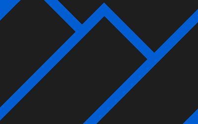 4k, material design, blue and black, lollipop, abstract mountains, geometric shapes, geometry, creative, blue arrows, black backgrounds, abstract art
