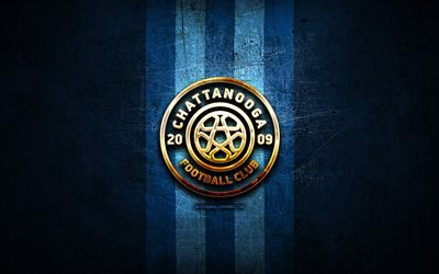 chattanooga fc, golden logo, nisa, blue metal background, american soccer club, chattanooga, national independent soccer association, chattanooga logo, soccer, usa