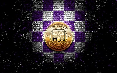 Toulouse FC, glitter logo, Ligue 1, violet white checkered background, soccer, FC Toulouse, french football club, Toulouse FC logo, mosaic art, football, France