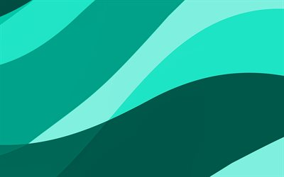 turquoise abstract waves, 4k, minimal, turquoise wavy background, material design, abstract waves, turquoise backgrounds, creative, waves patterns