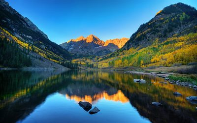 maroon lake, aspen mountain lake, berg, landschaft, wald, abend, sonnenuntergang, herbst, colorado, usa