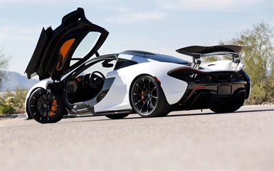 McLaren P1, 2020, rear view, exterior, white supercar, hypercar, British sports cars, McLaren