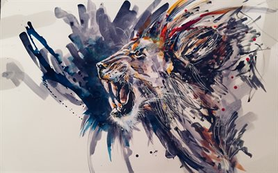 Painted lion, grunge art, drawing lion, paint art, lion, predator