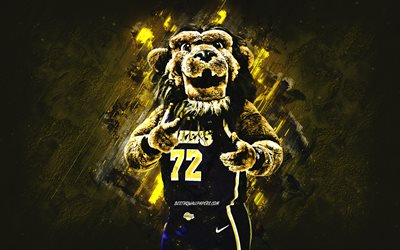Bailey, NBA, Mascotte, Los Angeles Lakers, giallo pietra, sfondo, portrait, USA, pallacanestro, i Los Angeles Lakers, i giocatori