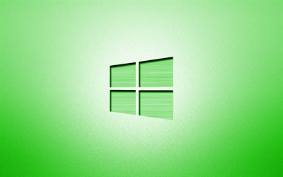 4k, Windows 10 green logo, creative, green backgrounds, minimalism, operating systems, Windows 10 logo, artwork, Windows 10