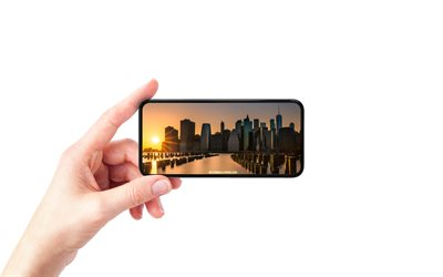 New York City, NYC, World Trade Center 1, smartphone in hand, white background, smartphone, Manhattan, East River, New York, USA