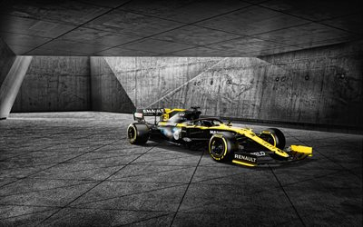 Renault RS20, 4k, garage, 2020 F1, Formula 1, Renault DP World Team di F1, F1, Renault F1 Team 2020, nuovo RS20