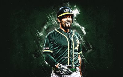 Marcus Semien, MLB Oakland Athletics, portrait, verde, pietra, sfondo, baseball, Major League di Baseball