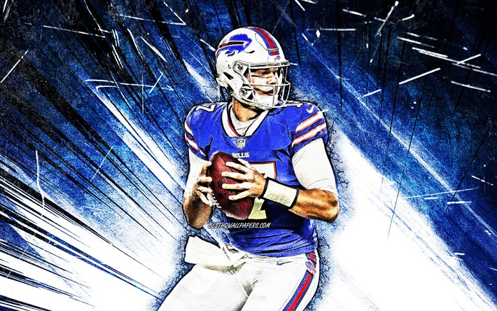 Download Wallpapers 4k Josh Allen Grunge Art Buffalo Bills American Football Nfl Quarterback Joshua Patrick Allen National Football League Blue Abstract Rays Josh Allen Buffalo Bills Josh Allen 4k For Desktop Free