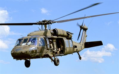 Sikorsky UH-60 Black Hawk, blue sky, US Army, combat aircraft, NATO, flying UH-60, attack helicopters, Sikorsky