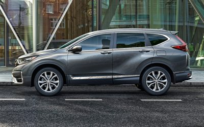 Honda CR-V, 2020, side view, exterior, gray crossover, new gray CR-V, japanese cars, Honda