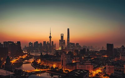 Shanghai, skyscrapers, Oriental Pearl Tower, Waitan, evening, sunset, panorama, Shanghai cityscape, Shanghai skyline, metropolis, China