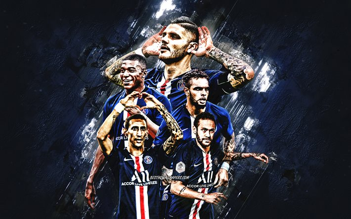 Download Wallpapers Paris Saint Germain French Football Club Psg Ligue 1 Psg Players Paris France Football Kylian Mbappe Neymar Mauro Icardi For Desktop Free Pictures For Desktop Free
