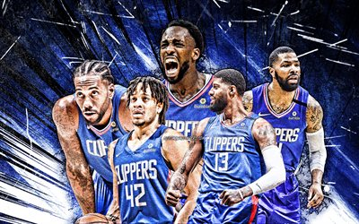 4k, Paul George, Marcus Morris, Kawhi Leonard, Patrick Beverley, Amir Coffey, art grunge, Los Angeles Clippers, basket-ball, NBA, équipe des Los Angeles Clippers, rayons abstraits bleus, stars du basket-ball, LA Clippers