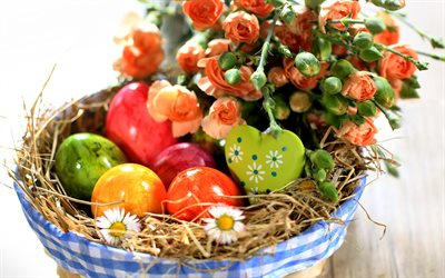 Easter eggs in a basket, orange roses, Easter, spring flowers, Easter background, basket with eggs