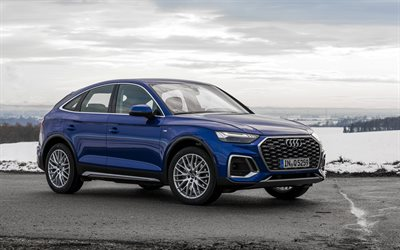 Audi Q5, 2021, front view, exterior, blue crossover, new blue Q5, German cars, Audi
