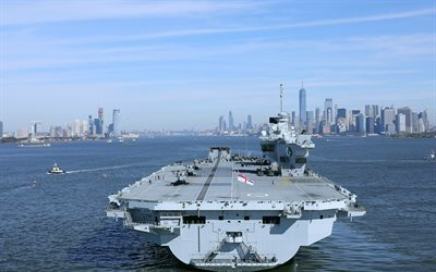 HMS Queen Elizabeth, R08, Royal Navy, New York, British nuclear aircraft carrier, Queen Elizabeth class, warships, aircraft carrier, New York cityscape